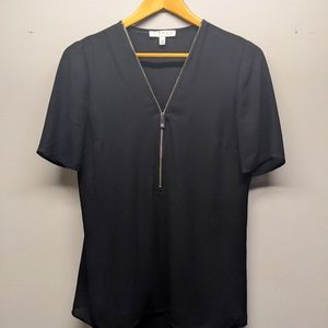 CHAUS Black Short Sleeve Top with Zip Front